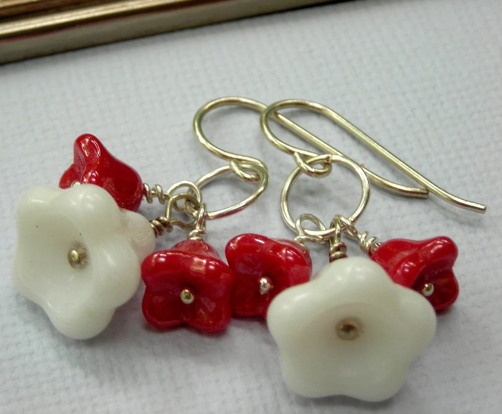 sterling silver flower earrings, red and white flower earrings