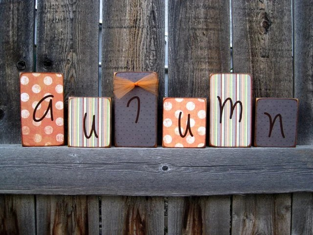 Autumn Block Set...I love this set...This will go PERFECT with your Fall Autumn or Halloween Decor
