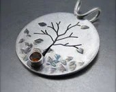 Autumn Silver Tree Pendant with Citrine