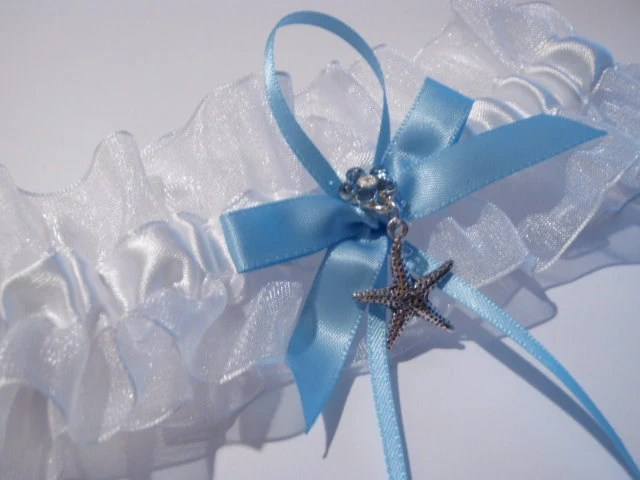 Baby Blue Beach Wedding Garter