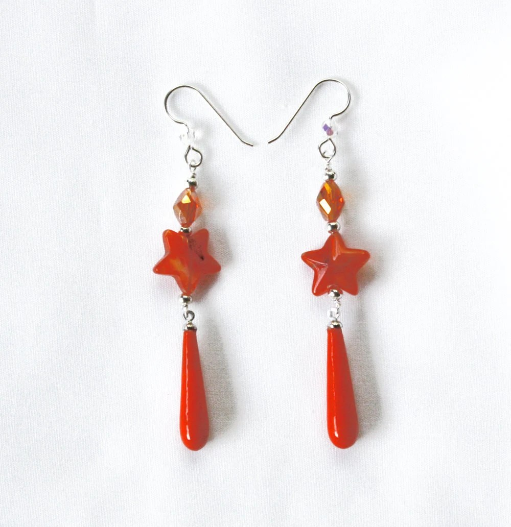 Sterling Silver Orange Dangle Earrings - Vintage Beads
