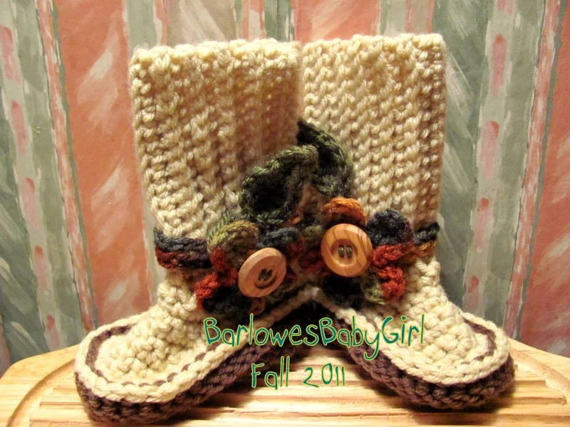 Buggs - Crocheted  Booties w/ Detachable Flower Accents in Autumn Hues