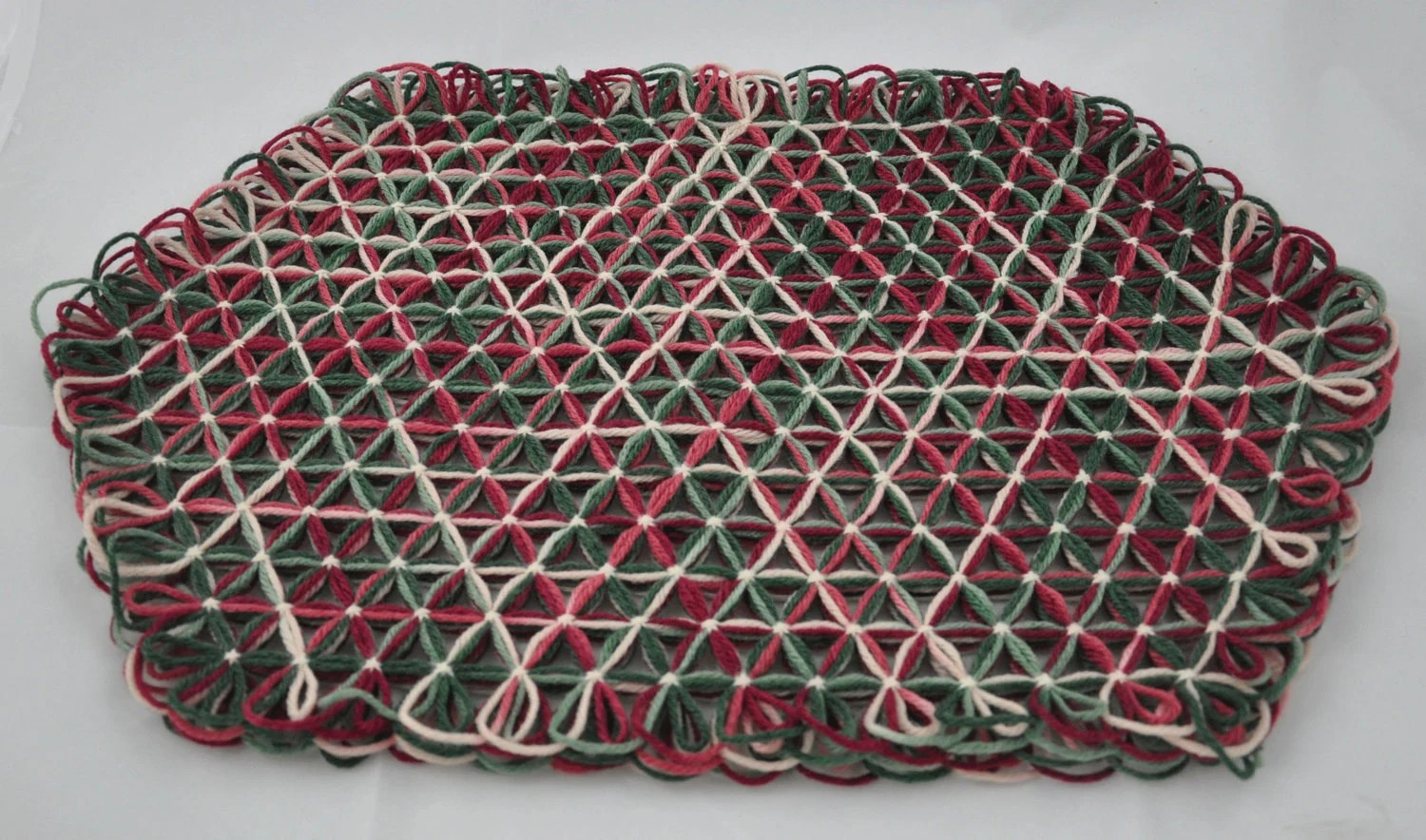 Large Trivet in 4 Layers of Cranberry Green Multicolored Yarn with Cream Ties - Autumn Christmas Colors