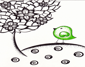 Original Ink Illustration / Drawing, Green Dotty Bird, 5 x 7