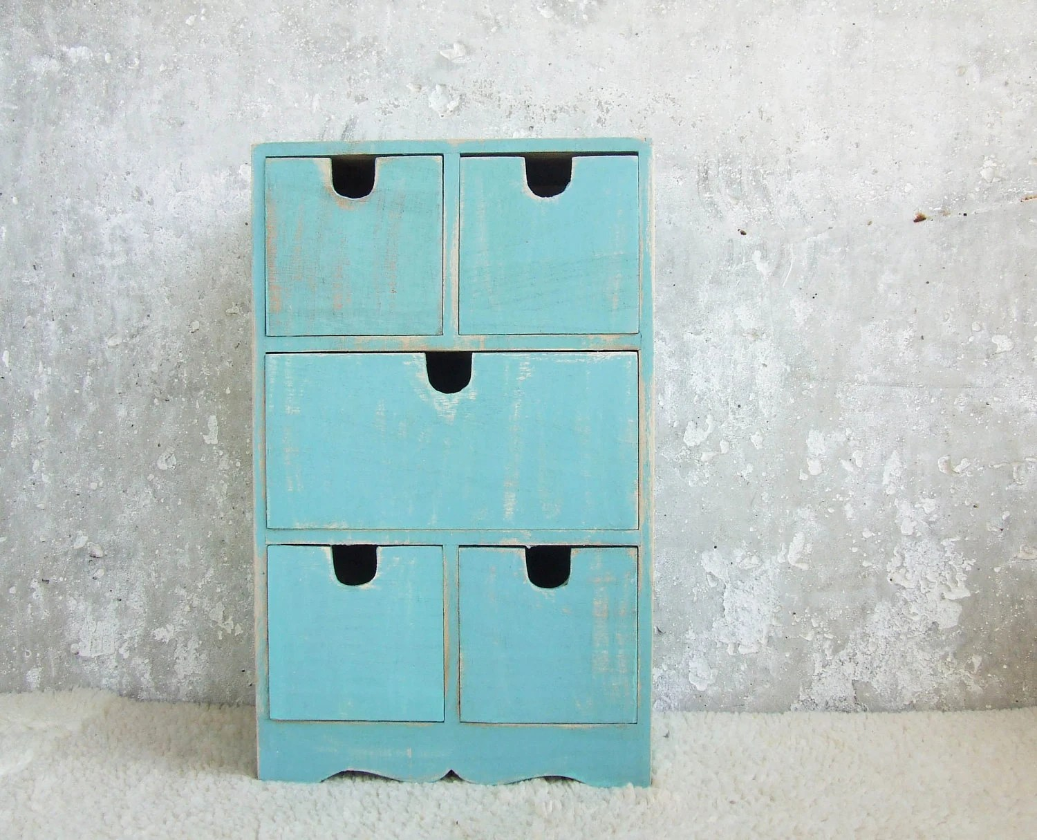 Aquamarine vintage Fashion and Decor,  Rustic Wooden Keepsake with 5 drawers, can be personalized at your order, Motherday gift