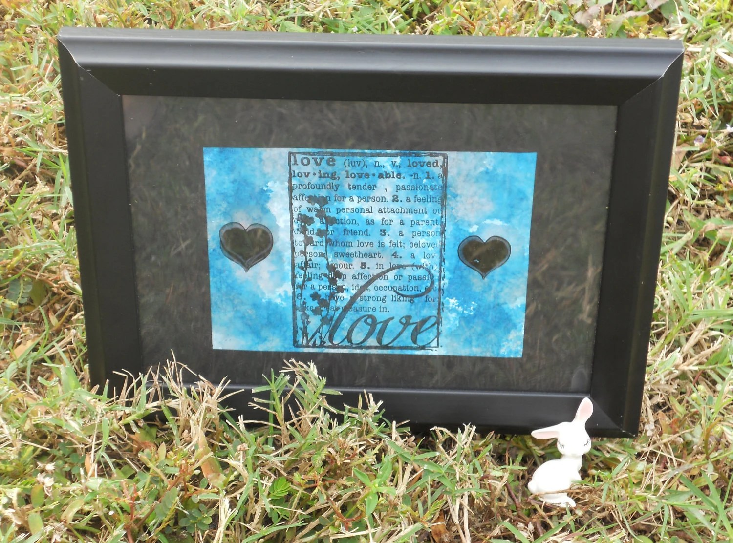 Definition of Love . Framed Art . HandStamped . Card Art . Alcohol Art .