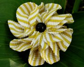 Hair tie striped yellow and white flower of reclaimed tshirt