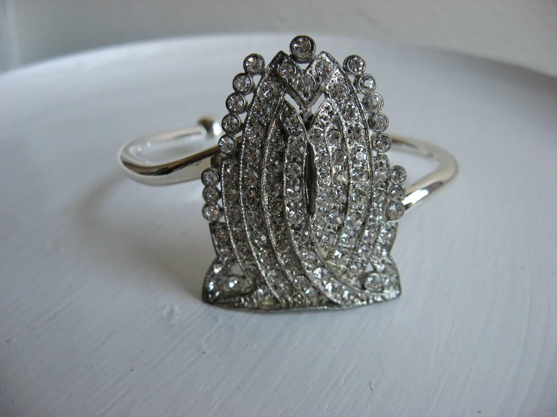 Art deco upcycled rhinestone cuff, vintage brooch bracelet, ooak, christmas her