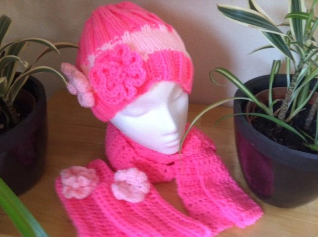 PINK winterset - hat beanie with flowers, matching fingerless gloves and cozy scarf
