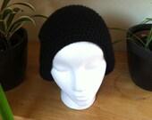 Black Slouch hat beanie beret - handmade crochet