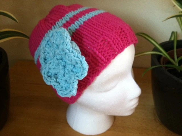PINK with Blue Stripe knitted beanie hat with cute detachable flower