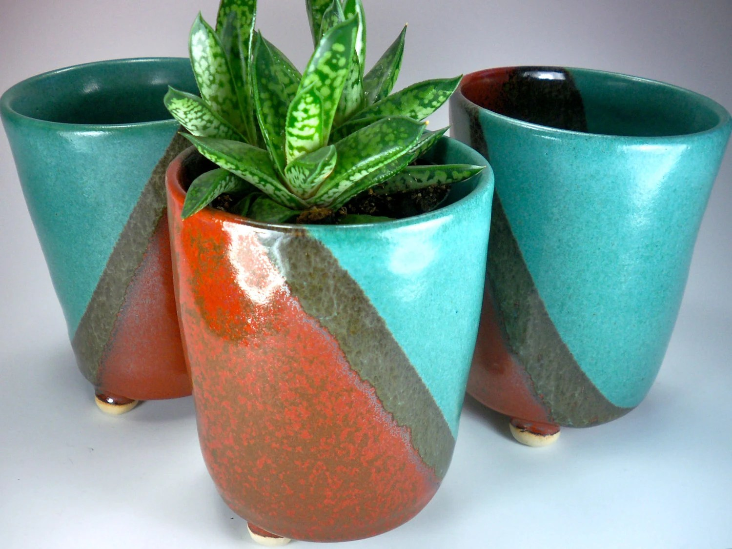 SALE, Ceramic Planter,  Tall Flower Pot, Handmade Stoneware Pottery in Orange Turquoise Moss Green - JulieKnowlesPottery