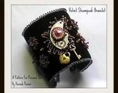 Steampunk Velvet Bead Embrodiered Cuff