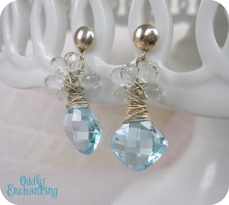 Yvetta Earrings- Blue Topaz, White Topaz, Sterling Silver