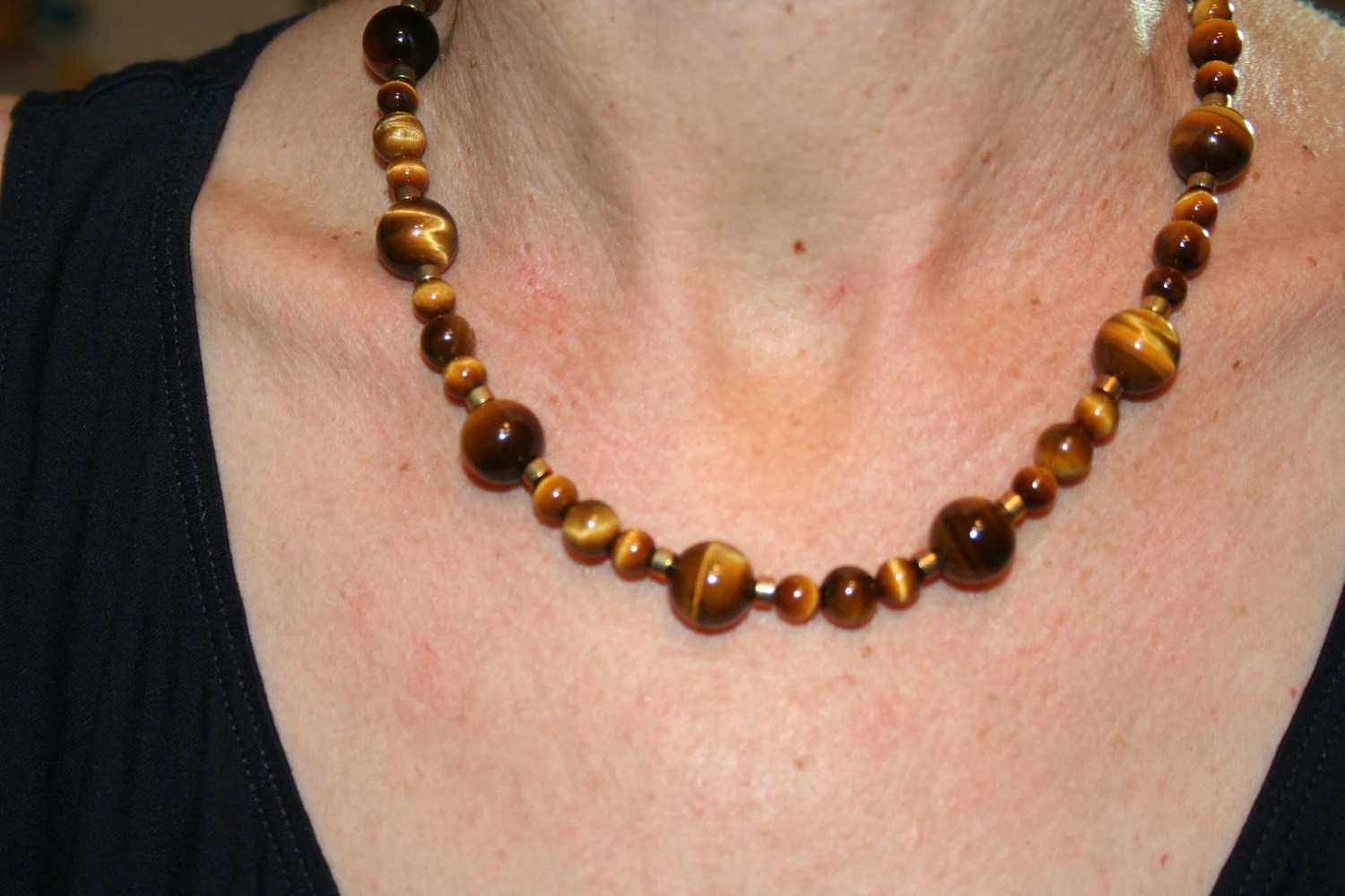 Tiger Eye Necklace with Gold Heshe Beads  Gold Clasp