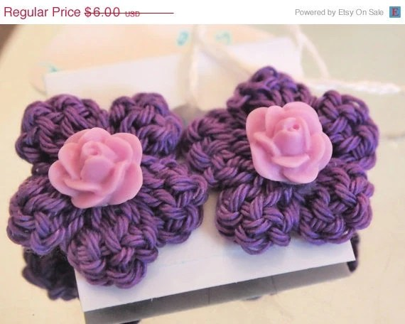 Be Yours Valentine Sale- Lavendar Rose Post/Stud Earrings
