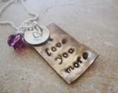 Antiquedbrass i love you more handstamped necklace with amethyst swarovski crystal and sterling silver disc