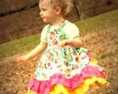 Owl Ruffle Back Party Dress Size 6-12 M, 12-18 M, 18-24 M, 2, 3, 4, 5