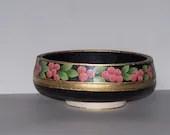 Berries and Leaves Black Hand Painted Wooden Bowl-OOAK-OFG