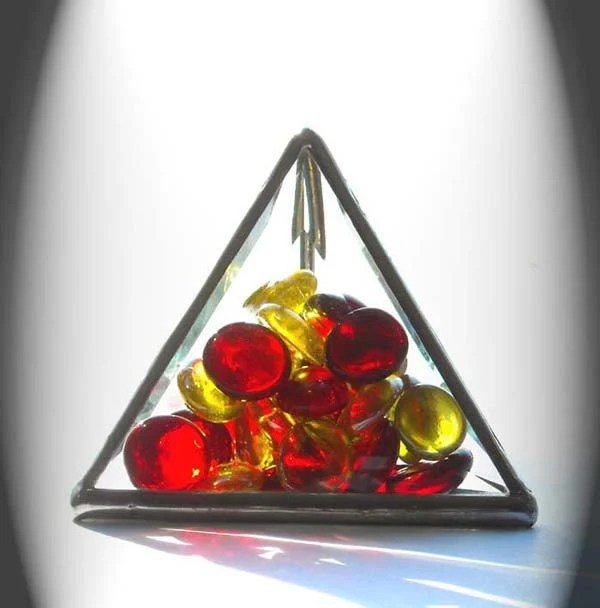 Beveled Glass Paperweight With Red And Yellow Glass Jewels