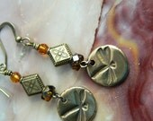 Golden Bronze Dragonfly Earrings