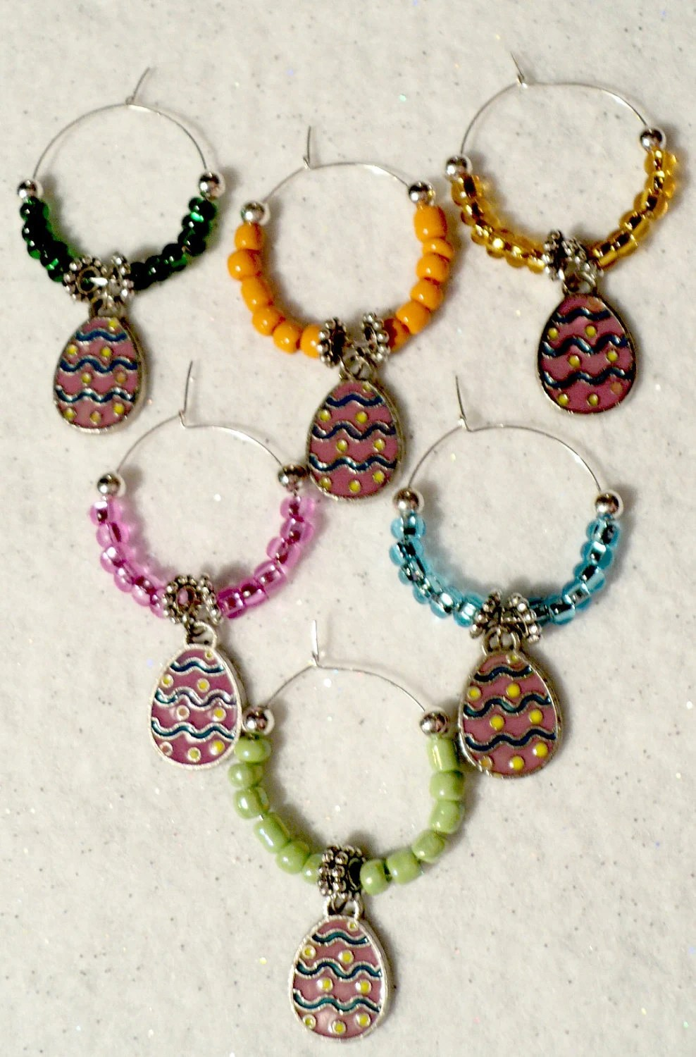Easter Egg Wine Glass Charms - Set of 6
