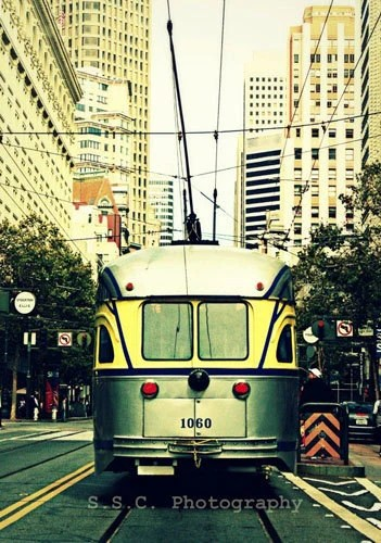 "San Francisco Photo. City Photo ""Trolley Ride"" 8.5x11inch Photo. Silver. Yellow. Trolley. City. Buildings. Cars. trees. people"