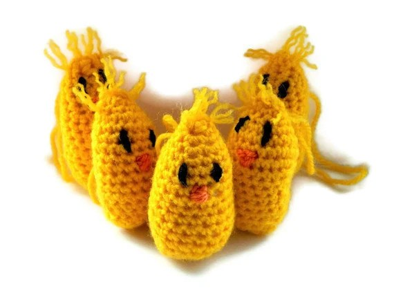 crochet Easter Chicks- SET of 5- chicks family- Easter Decorations