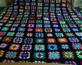 Crochet Blanket Handmade -  Made in tradition granny multi colour style with black border CUDDLE BLANKET (nannycheryl original) ID 781