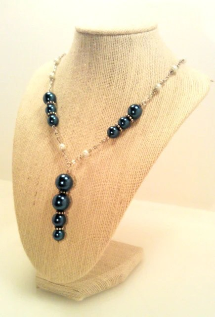 "Rainy Morning Blue Glass Pearl ""Y"" Necklace"