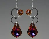 Eos II v7: Wire wrapped earrings with volcano Swarovski crystals - YouniquelyChic
