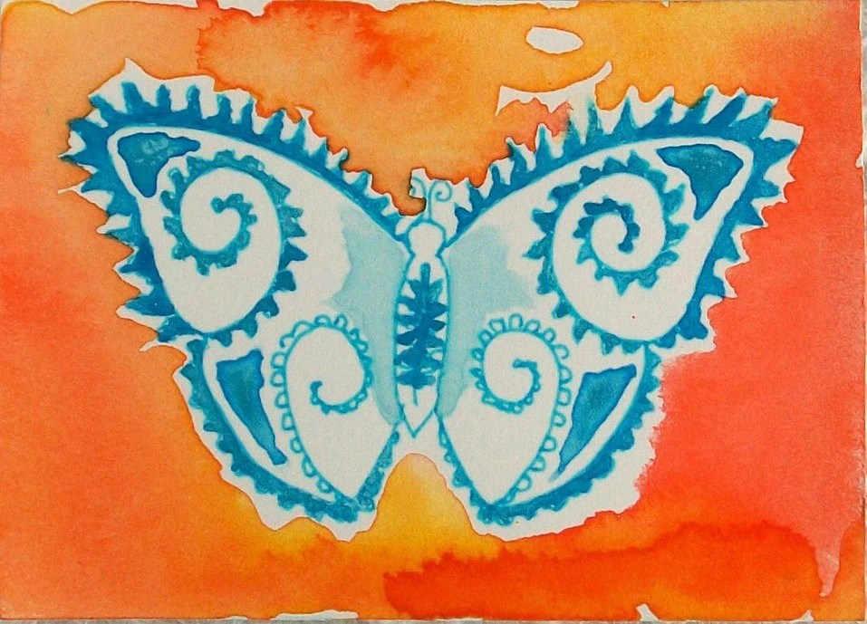 Irridescent Turquoise Fern Butterfly on Tropical Mango - Original Watercolor, miniature art, ACEO, Bohemian, Whimsy style Butterfly - TheExpressivePalette