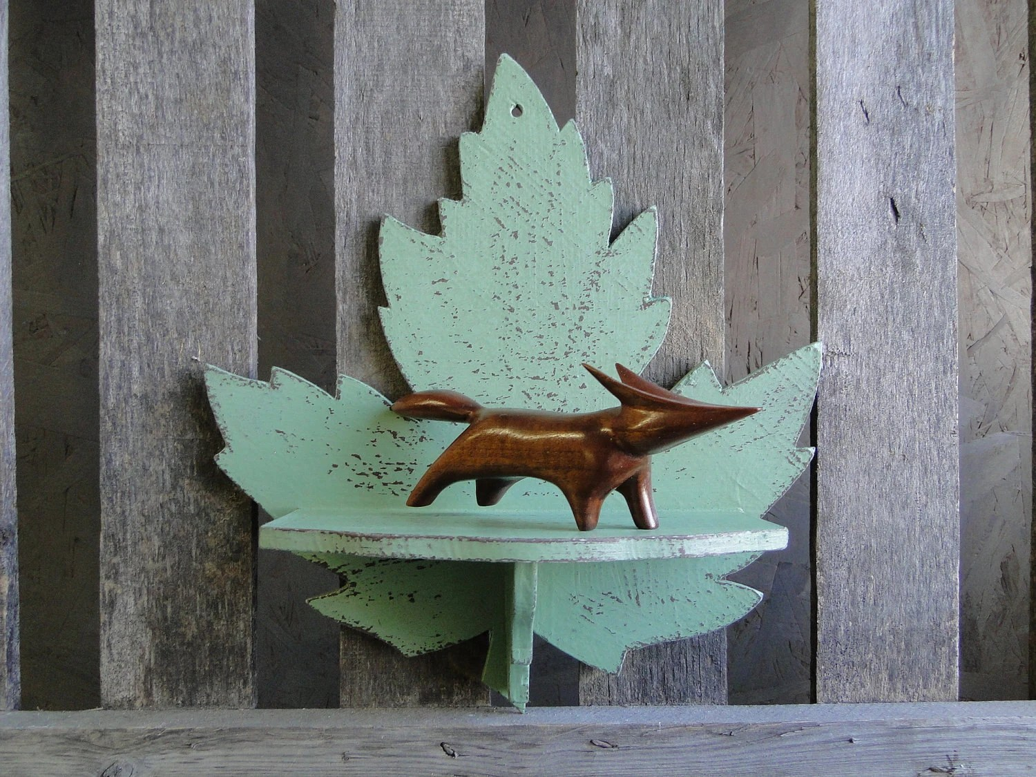 "Wooden Leaf Decorative Shelf distressed green rustic man men fathers day ""Leaf me Alone"" - TRWpainted"