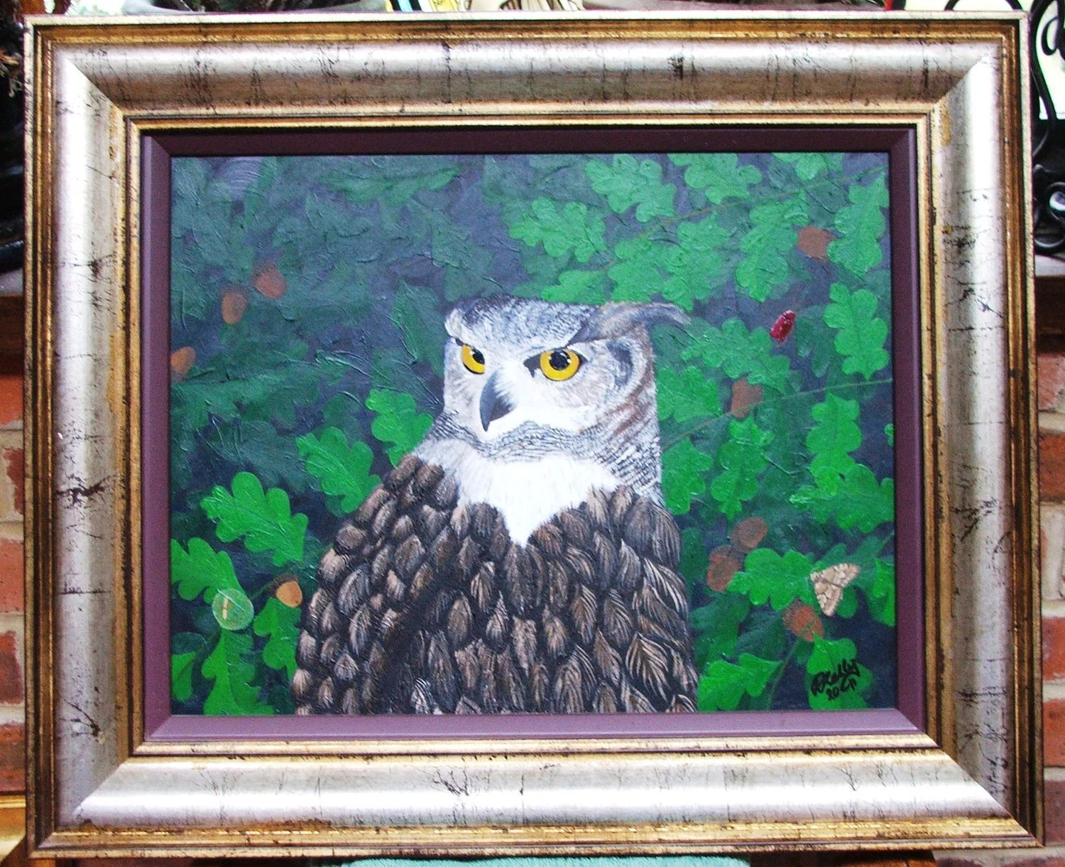 Look Out. Owl and oak leaves original acrylic painting by UK artist Nikki Kelly