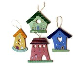 Set of 4 Handpainted primitive Birdhouses - 4 different Styles- Save 3 Dollar