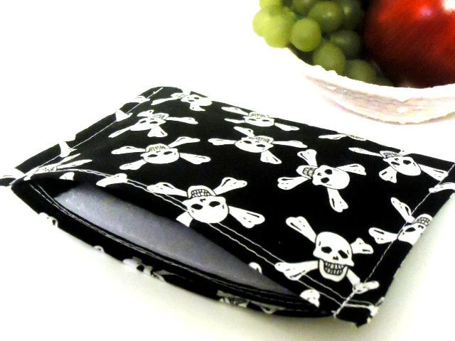 Reusable Snack Bag Eco Friendly - Skulls and Crossbones -