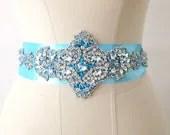 Turquoise Blue  Rhinestone Crystal Beaded Bridal Wedding  Belt - gebridal