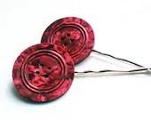 Vintage Button Hair Pins Pair Big Pink Marbled Hair Decoration CLEARANCE SALE - VaudevilleGypsy