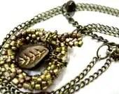 Light Brown Necklace Beaded Pendant with Leaf - MegansBeadedDesigns