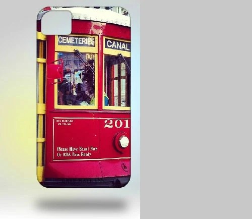 iPhone 4 Case: New Orleans Trolley Original Photography  red yellow canal street - Gallery32Photography