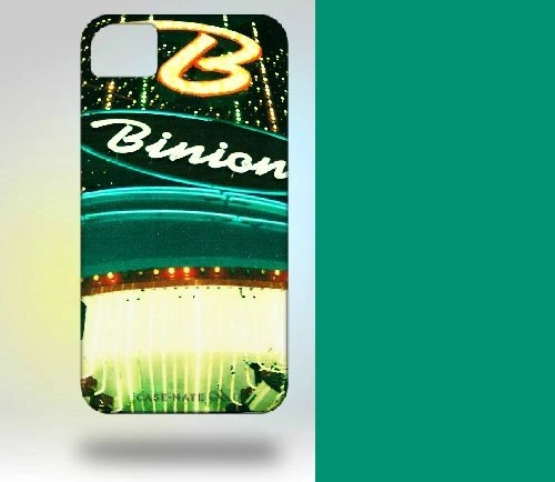 iPhone 4 Case: Binion's Las Vegas Neon Polaroid Turquoise - Gallery32Photography