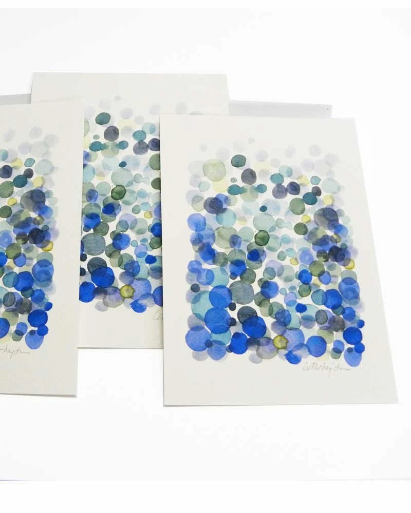 Postcard Bubbles - blue dots original art card - handmade postcard - original watercolor - sea foam ultramarine - LouisestArt