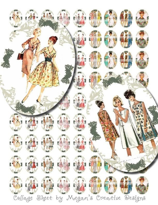 Vintage Fashion Models 18 x 25 Collage Sheet - $1.99
