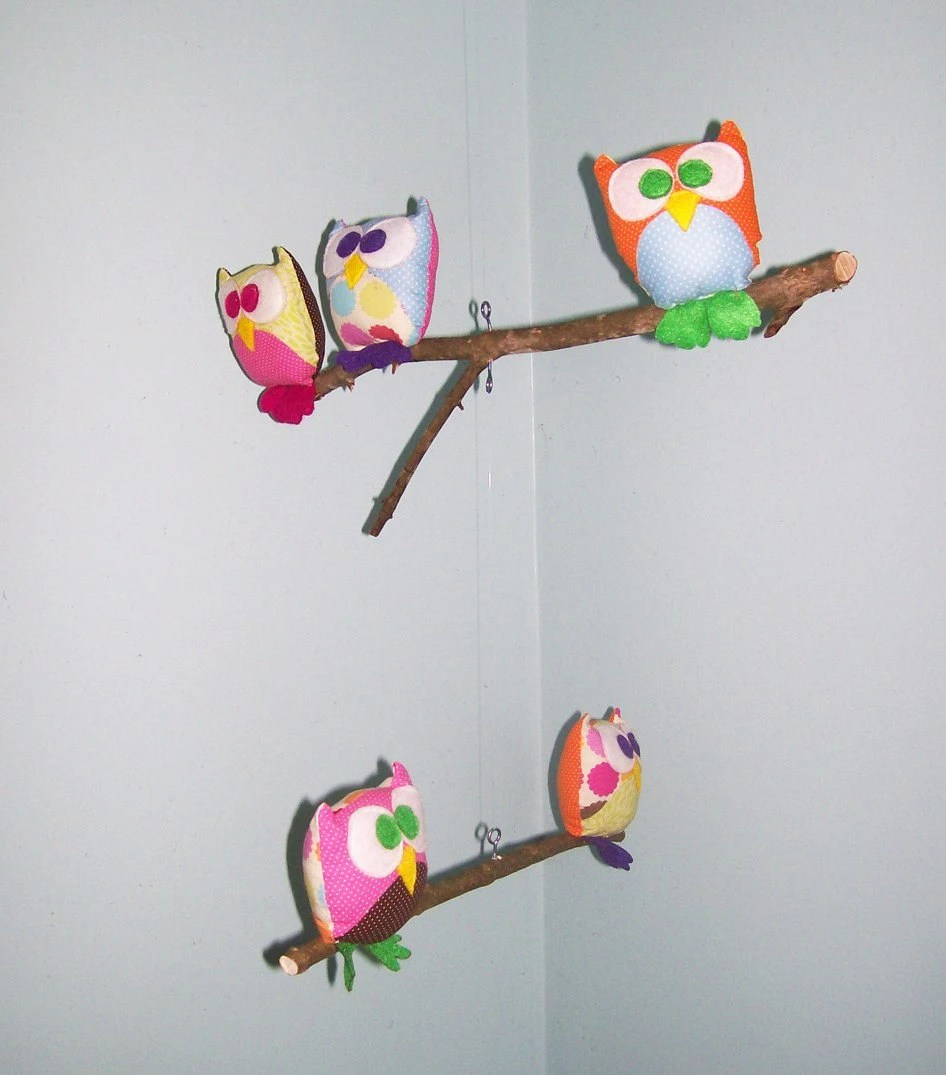 Owl Mobile - owl animal - branches - 3 Tiered - in pink, orange, green, purple, blue, and yellow