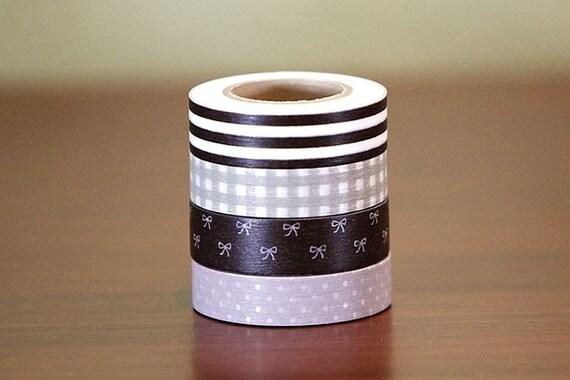 Japanese Washi Tape ReMix Dark Brown Stripe Bow Light Gingham Dots