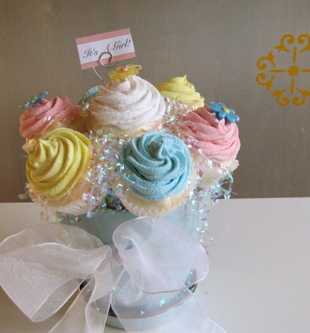 Fake Faux Cupcake Arrangement Cupcake Bouquet Entitled How Sweet It Is Cupcake Arrangement Unique Baby Shower Gift, Baby Shower Centerpiece, Birthday Gift, Wedding Shower Decor A 12 Legs Original Concept