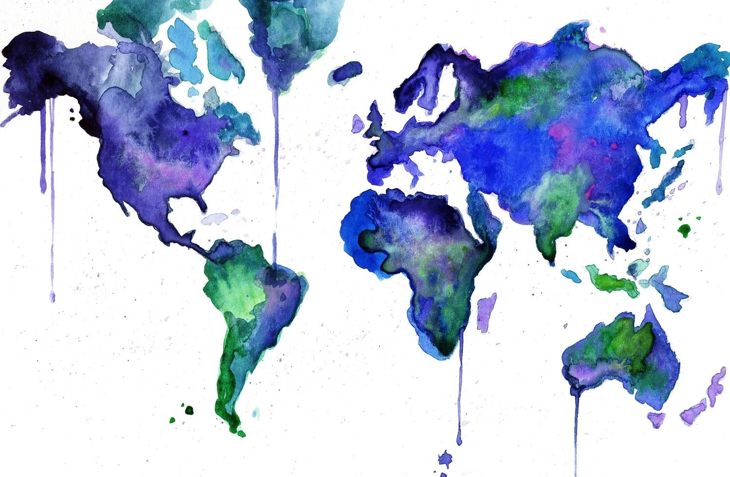 Watercolor World Map Illustration: Earth in Technicolor print