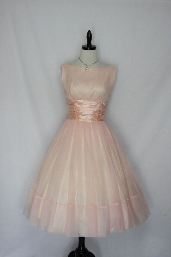 Delicious Vintage 1950's PINK CHIFFON with Satin Cummerbund Garden WEDDING Frock