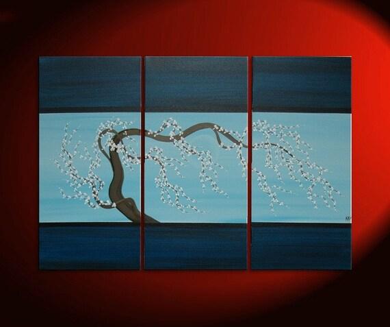 Blue Contemporary Painting Plum Blossom Art Navy Blue Chinese Zen Style Original Art Custom 45x30