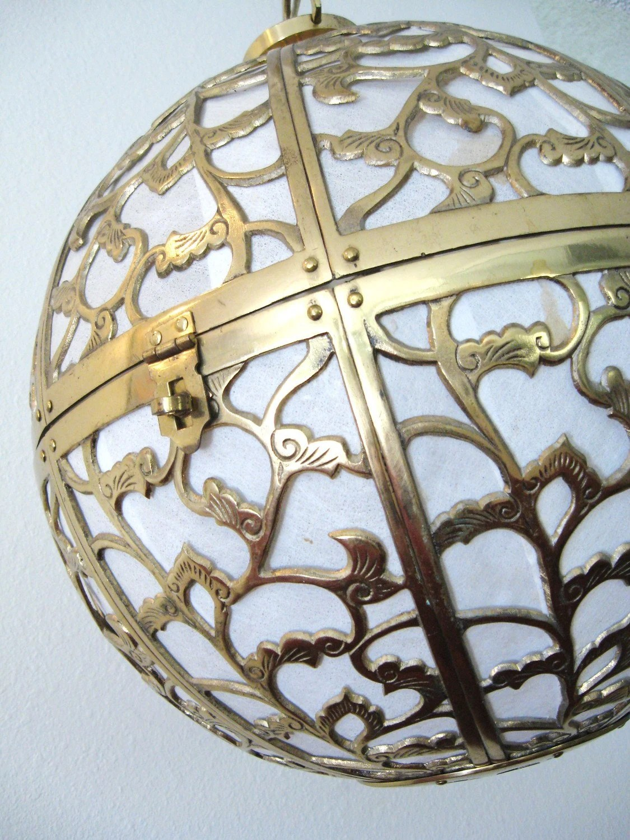 Vintage HOLLYWOOD REGENCY Pierced BRASS Orb Hanging Lamp